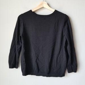 Ann Taylor Black Silk Blend 3/4 Sleeve Sweater